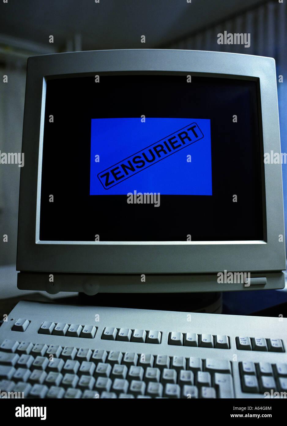 censorship written in german letters on internet - Stock Image