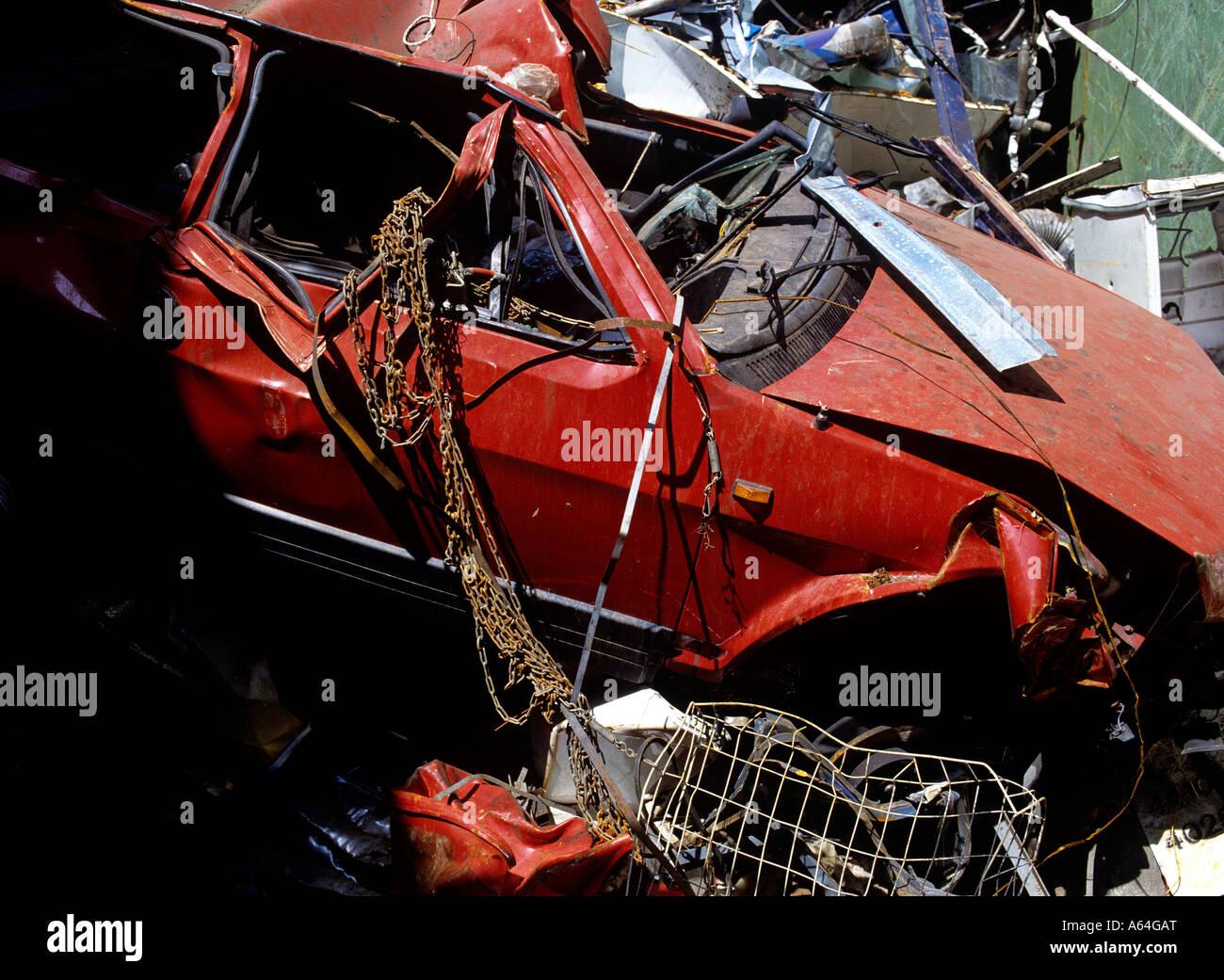 car wreck and scrap at recycling scrap yard Stock Photo