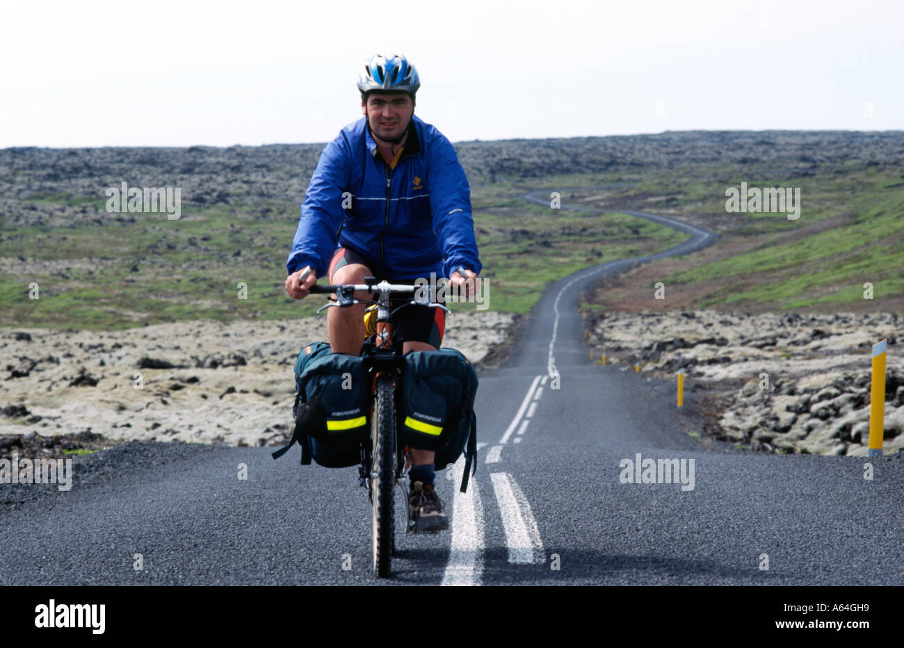 Carl Galvin Mountain Biking in Iceland during the Bike Iceland Mountain Biking Exprdition - Stock Image