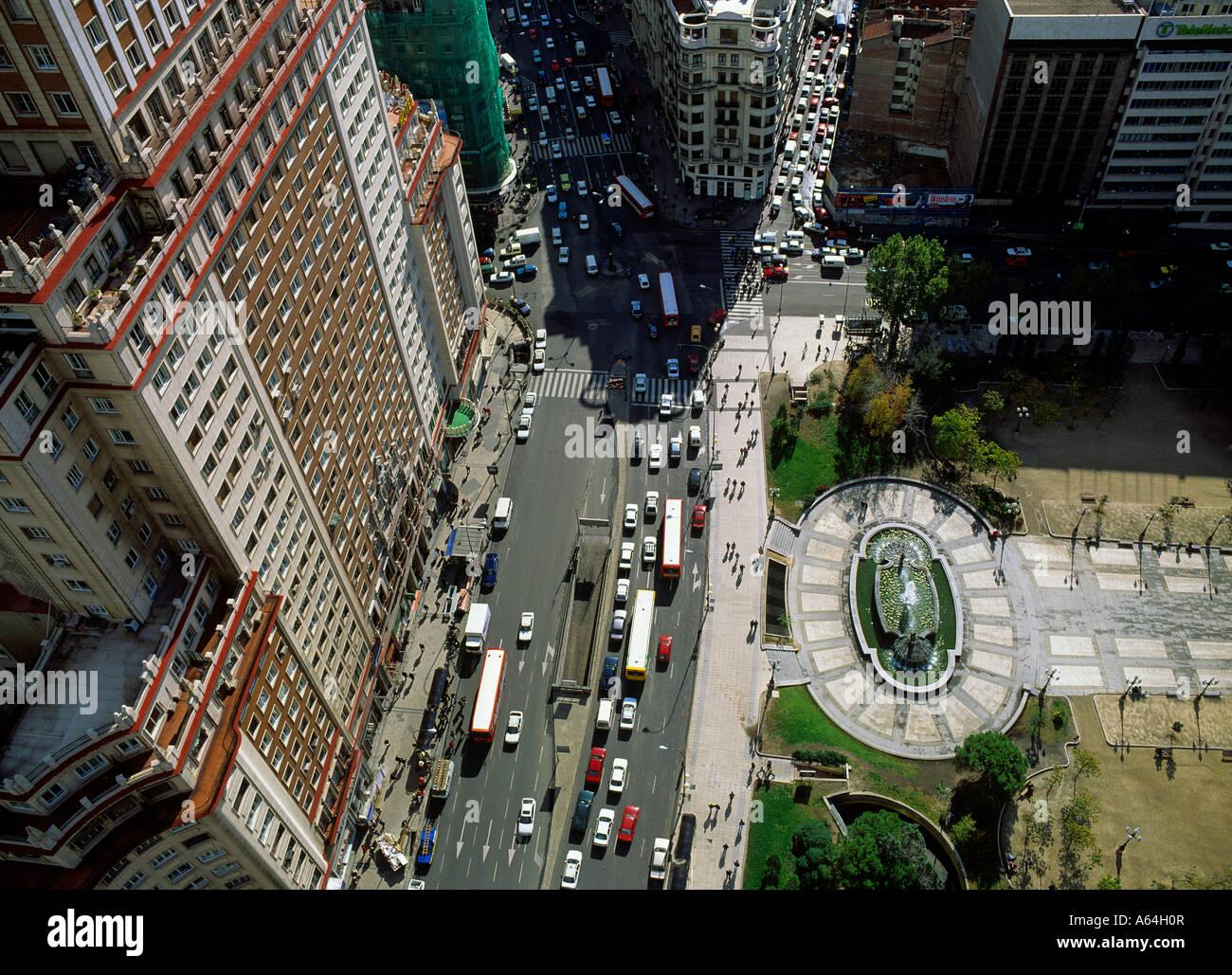 view from highrise building torre de madrid to edificio de espana square plaza de espana and boulevard gran via Stock Photo