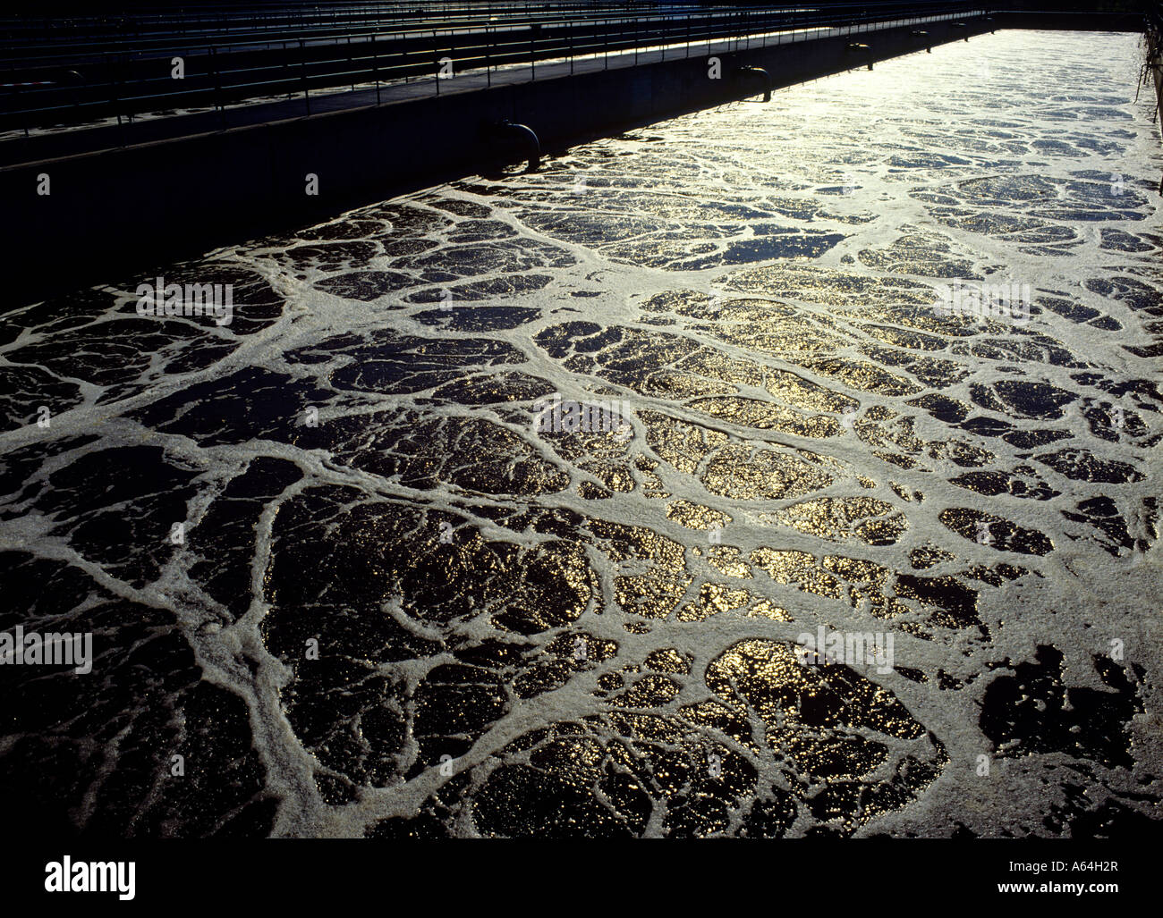 secondary aeration tank activated sludge at waste water treatment and purification plant Stock Photo