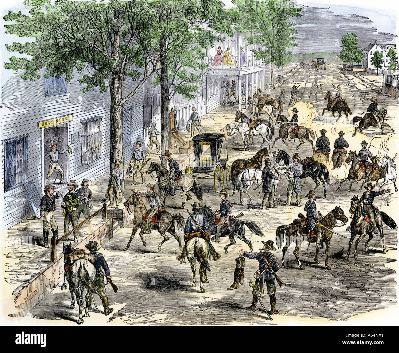 Confederate cavalry ransacking New Windsor Maryland during the US Civil War. Hand-colored woodcut - Stock Image