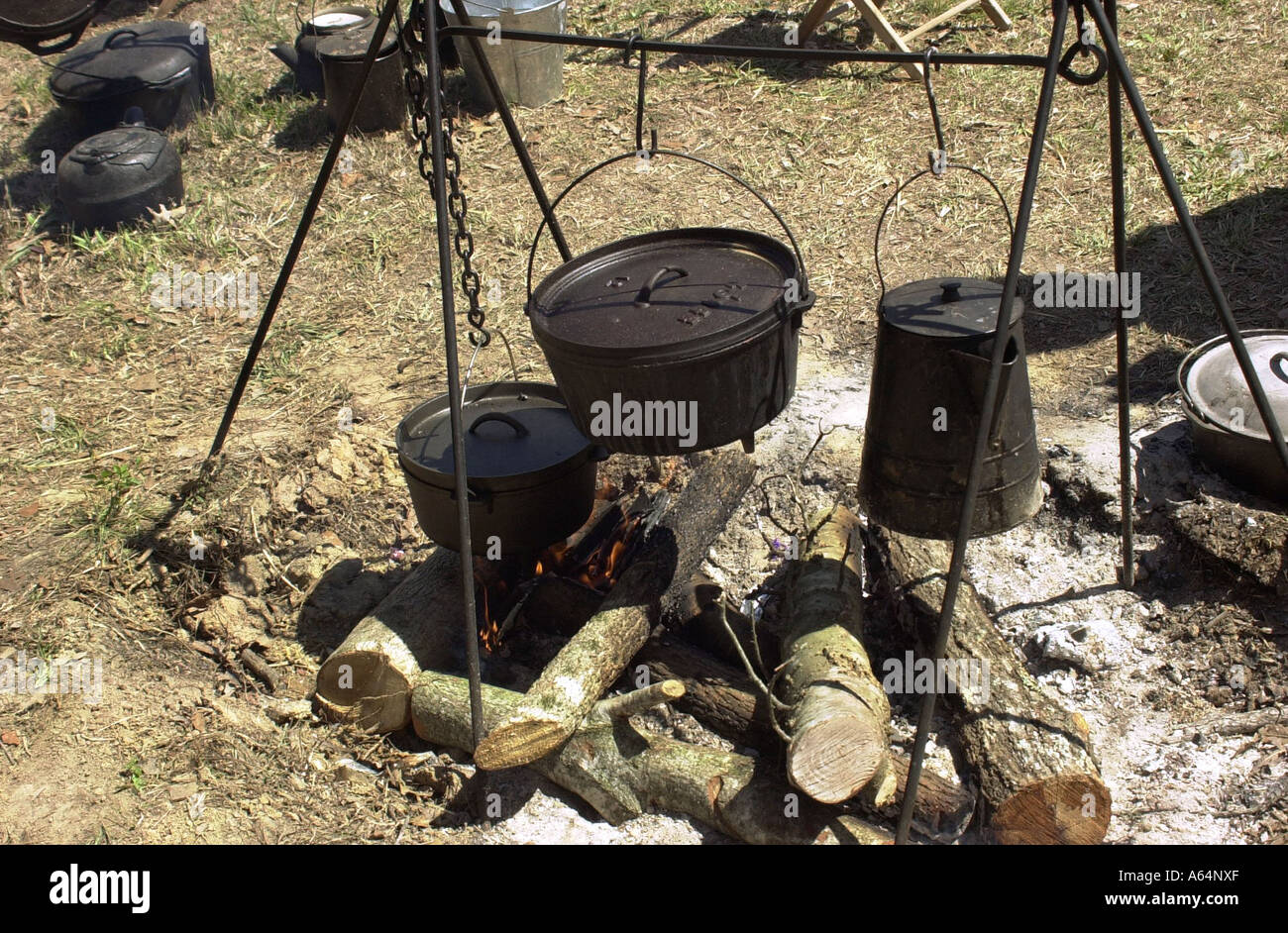 Campfire Cooking At A Confederate Civil War Camp Reenactment Shiloh National Military Park Tennessee