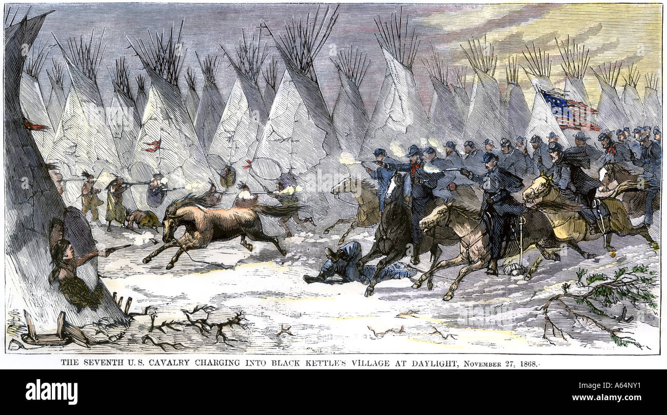 Colonel John Chivington leading US Cavalry massacre of Chief Black Kettle and a village of friendly Indians at Sand Creek 1864. Hand-colored woodcut - Stock Image