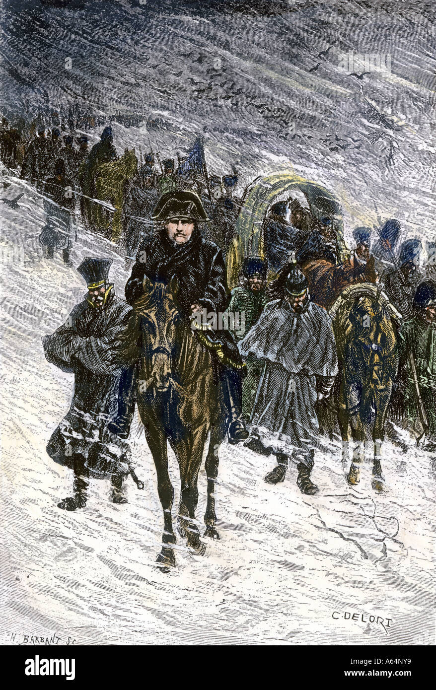 Winter retreat of Napoleon and the French army from Moscow in 1812. Hand-colored woodcut Stock Photo