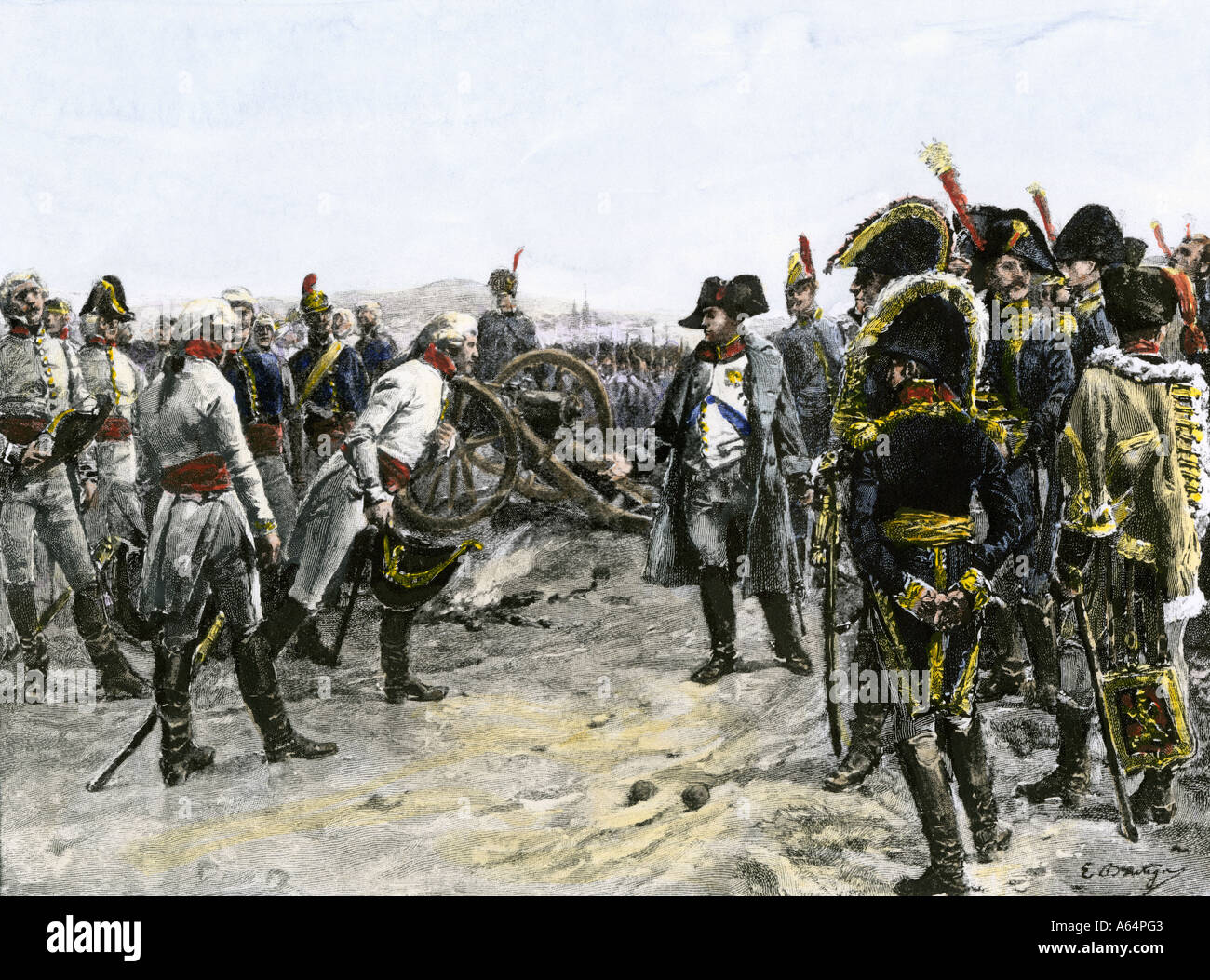 Surrender of Mack von Leiberich to Napoleon at Ulm 1805. Hand-colored woodcut - Stock Image