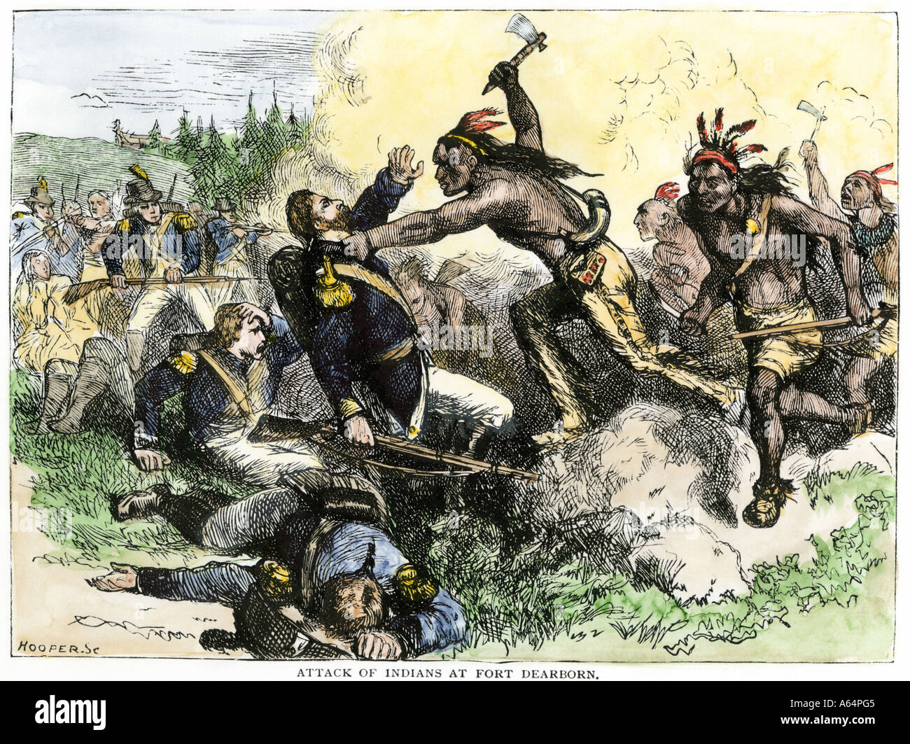 Native Americans battle the American garrison at Fort Dearborn in Illinois  during the War of 1812. Hand-colored woodcut