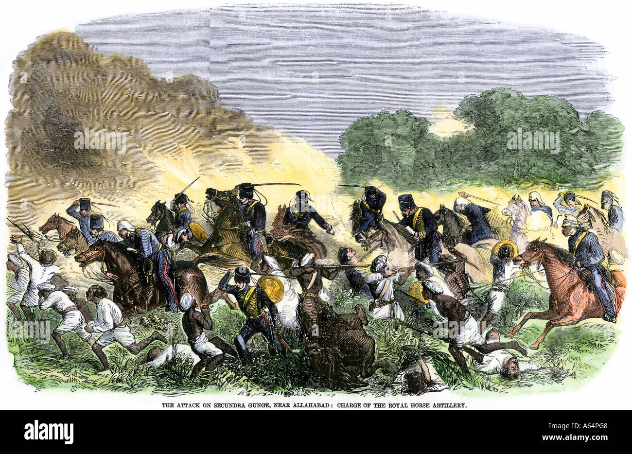 British Royal Horse Artillery charge against unmounted natives near Allahbad India  during the Sepoy Revolt 1857. Hand-colored woodcut - Stock Image