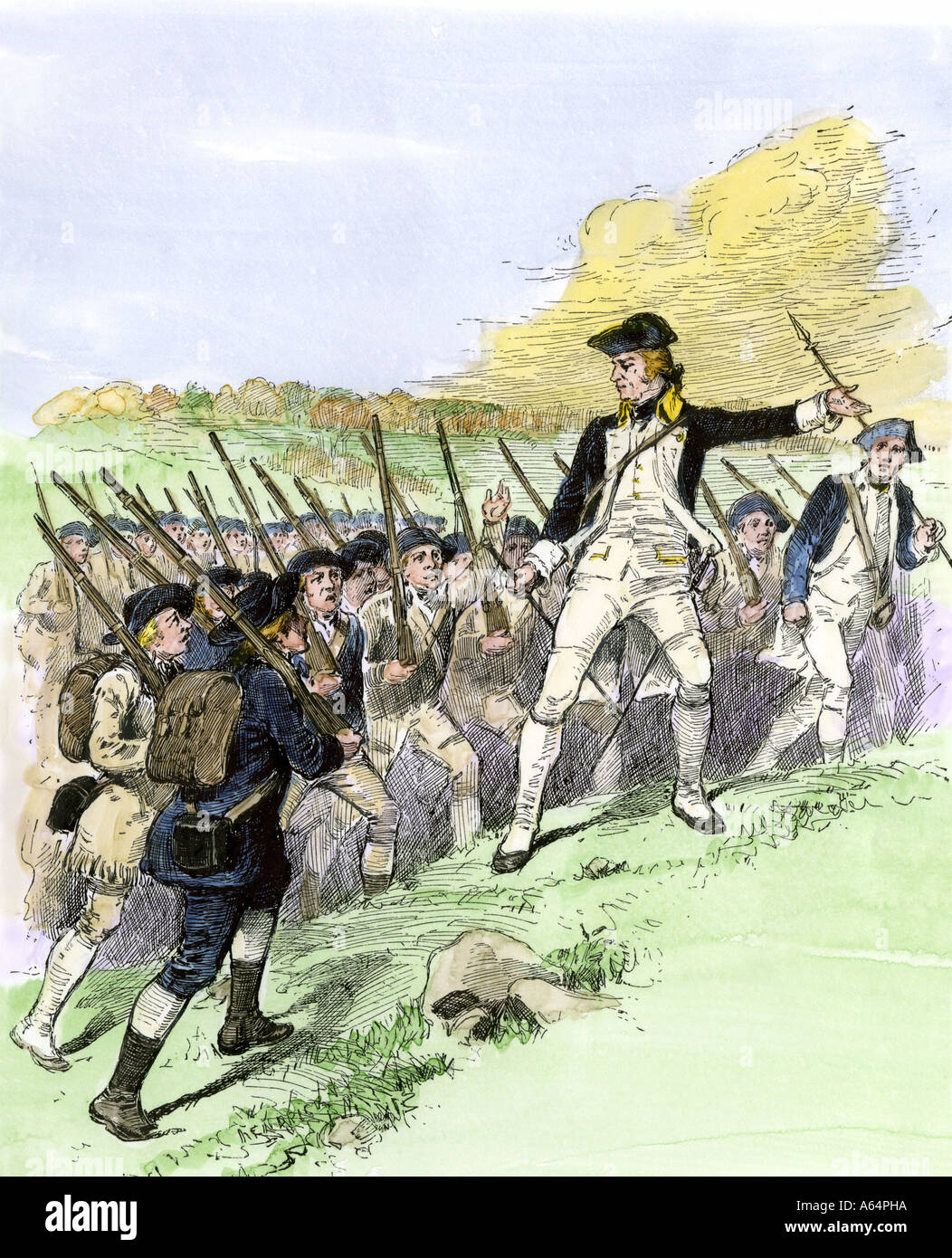 General John Stark leading the New Hampshire militia at the Battle of Bennington Vermont 1777. Hand-colored woodcut - Stock Image