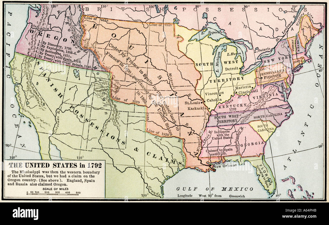Map of the United States in 1792 showing colonial claims on Oregon ...
