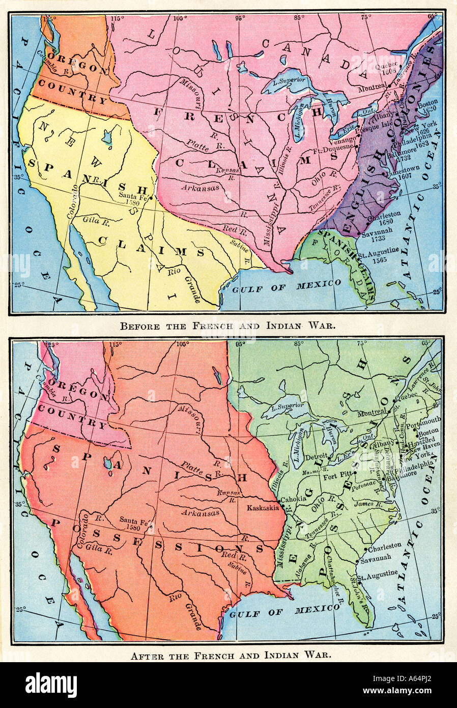 Maps of north american british spanish and french colonies before maps of north american british spanish and french colonies before and after the french and indian war 1700s color lithograph gumiabroncs Choice Image