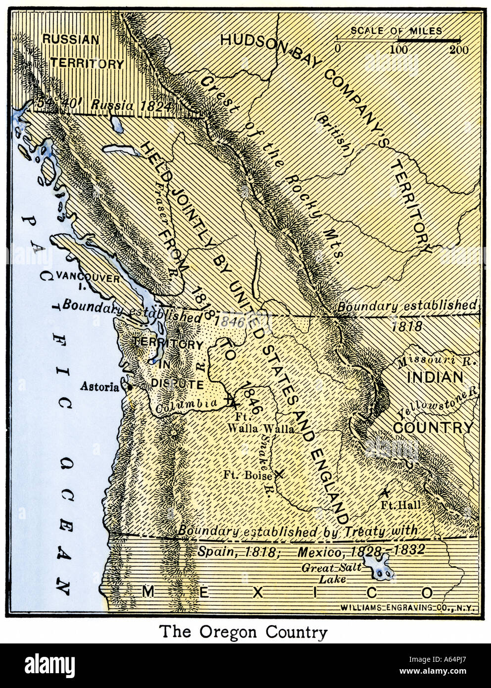 Map of Oregon Territory showing boundary of US with British Canada under dispute until 1846. Hand-colored woodcut - Stock Image