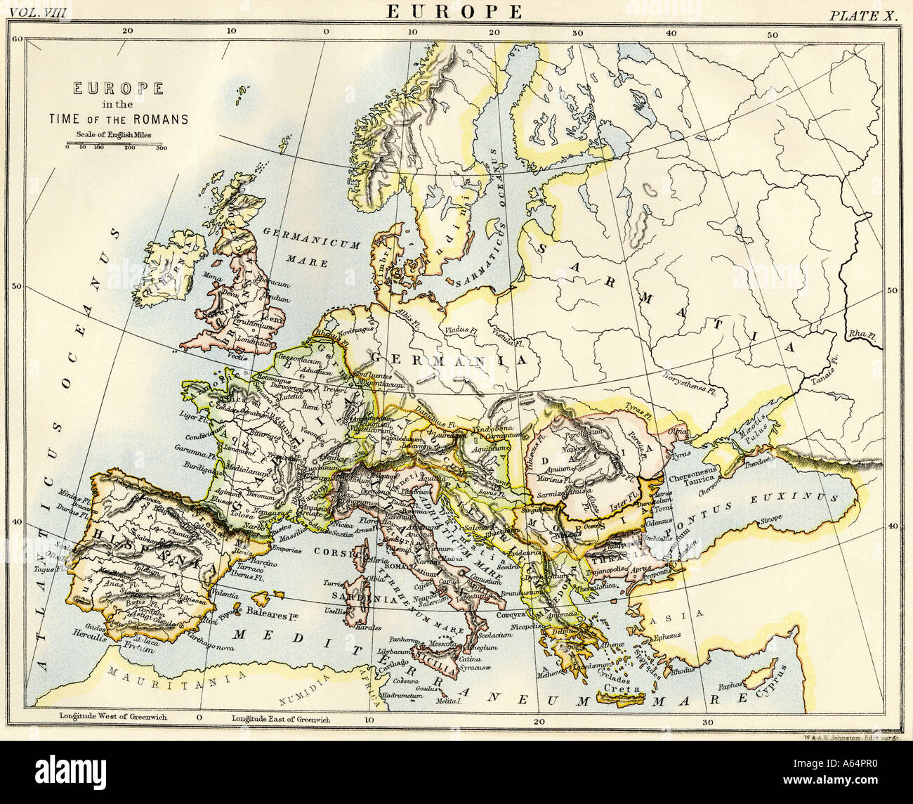Map of Europe in the time of the Roman Empire. Color lithograph - Stock Image