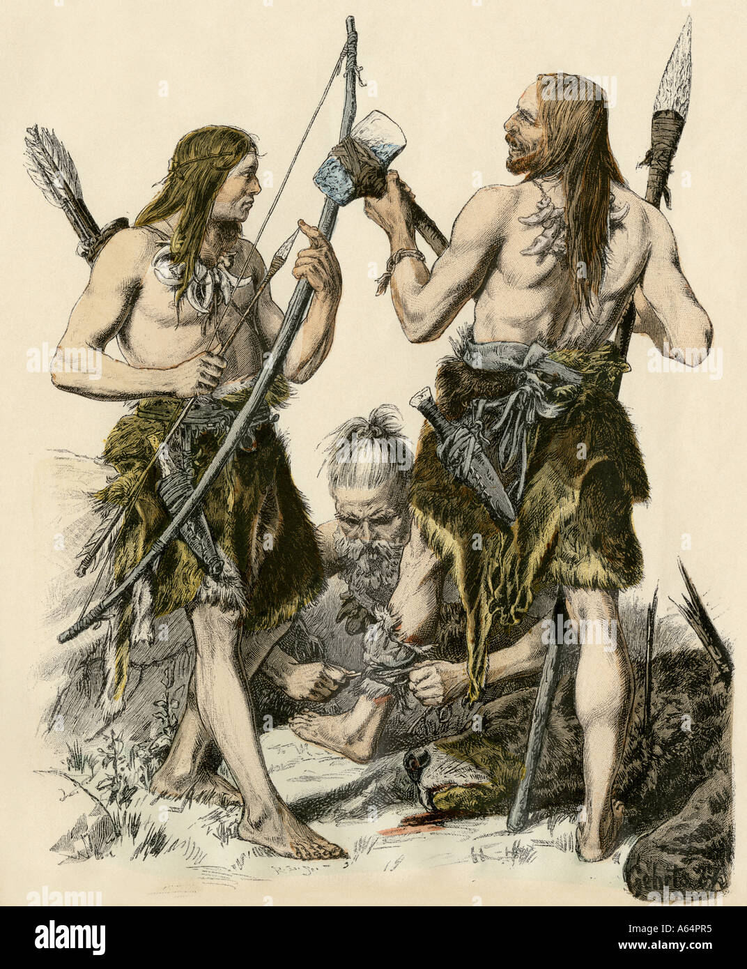 European hunters of the Stone Age. Hand-colored print - Stock Image
