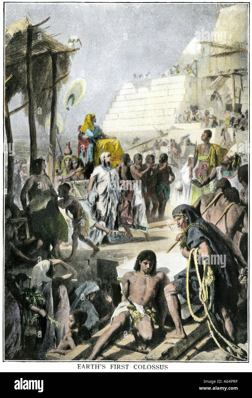 Pharaoh Khufu or Cheops supervising construction of the Great Pyramid in ancient Egypt. Hand-colored halftone of an illustration - Stock Image