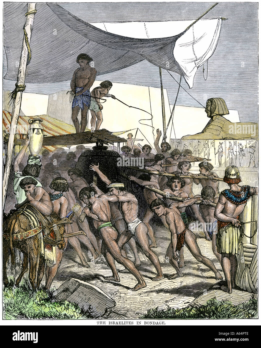 Israelite slaves building pyramids in ancient Egypt. Hand-colored woodcut - Stock Image