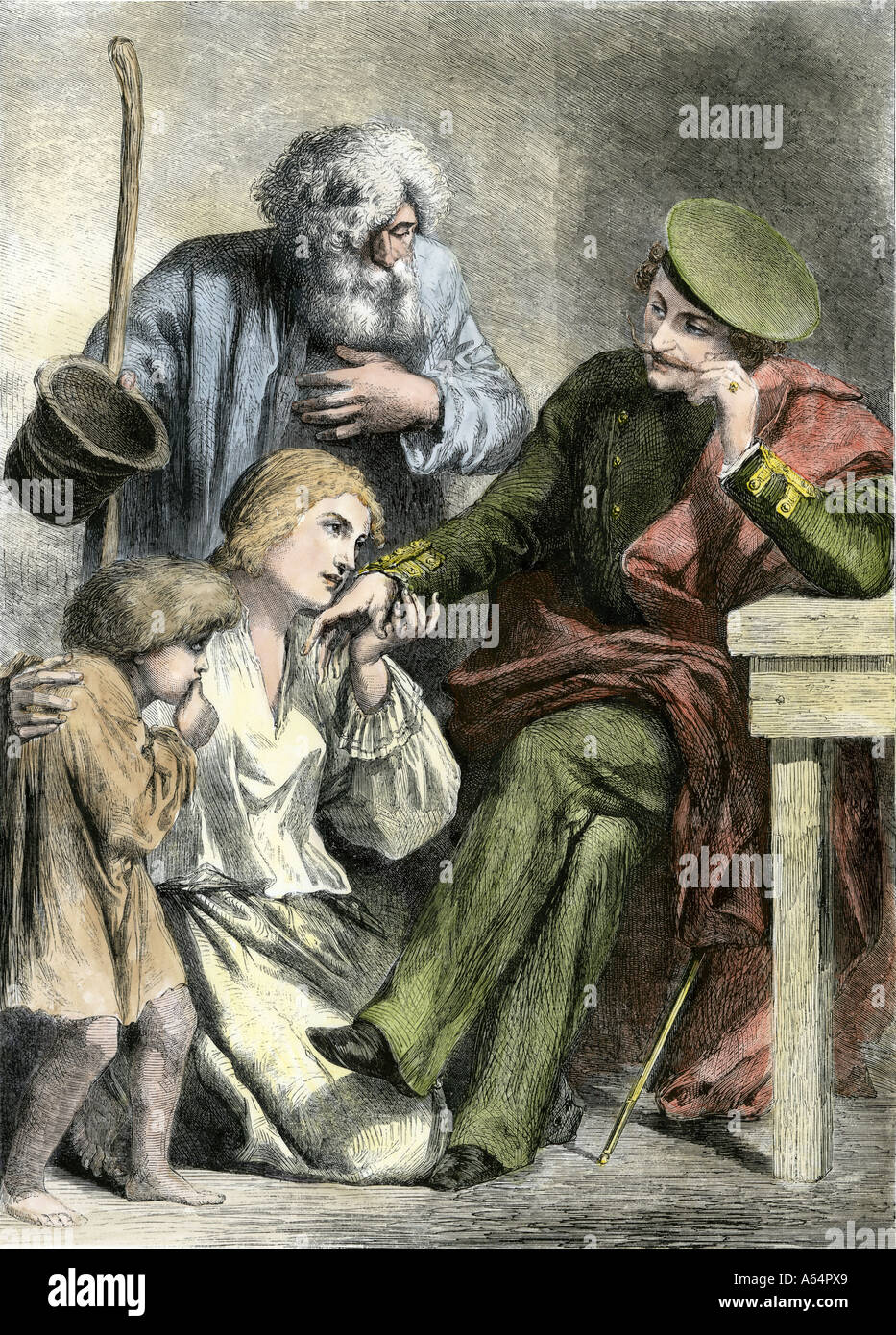 Family of Russian serfs greeting a noble landowner 1800s. Hand-colored woodcut Stock Photo