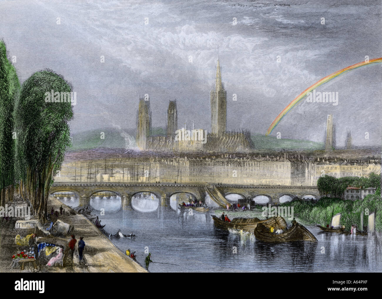 Rouen France on the River Seine early 1800s. Hand-colored engraving - Stock Image