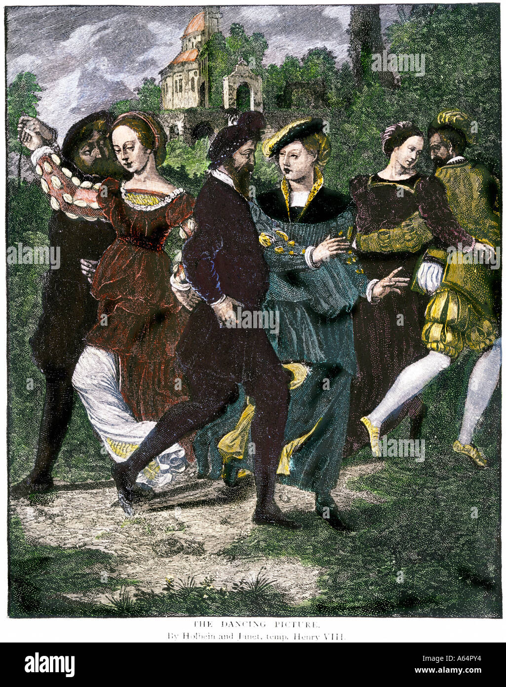 Couples dancing in Tudor England 1500s. Hand-colored woodcut - Stock Image