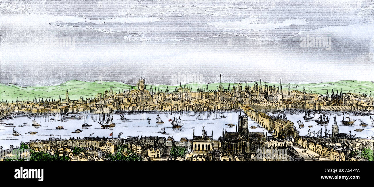 London before the Great Fire of 1666. Hand-colored woodcut - Stock Image
