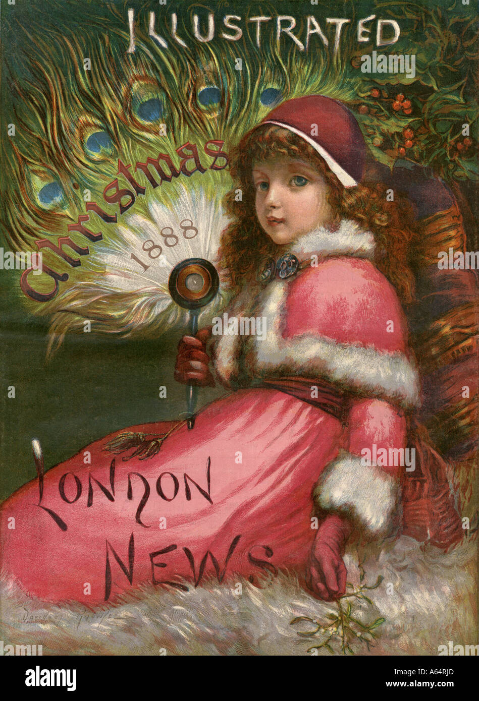 Christmas edition front page of the Illustrated London News 1888. Color lithograph - Stock Image