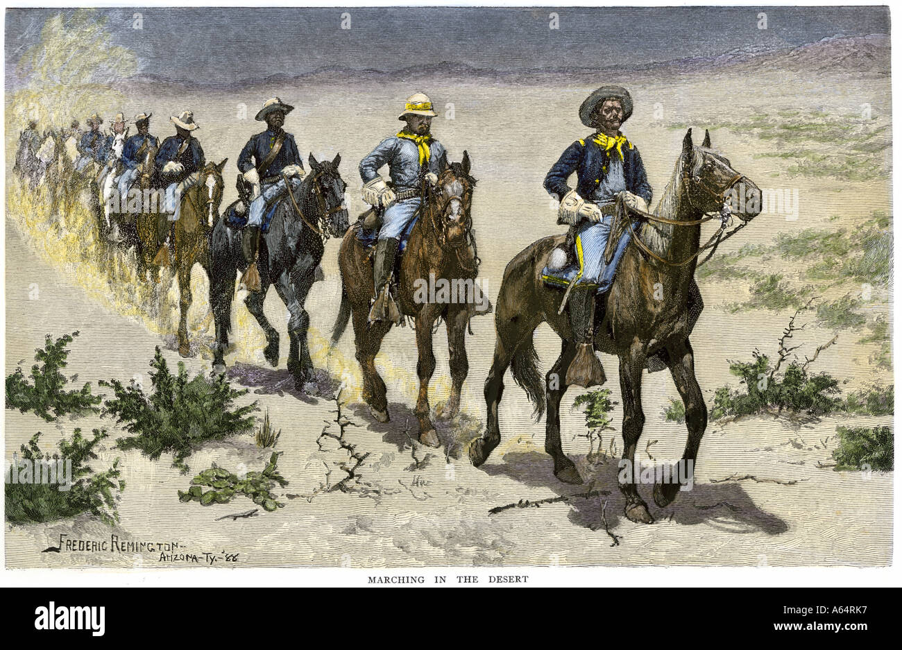 African American buffalo soldiers marching in the Arizona desert during Apache wars 1880s. Hand-colored woodcut of a Frederic Remington illustration - Stock Image