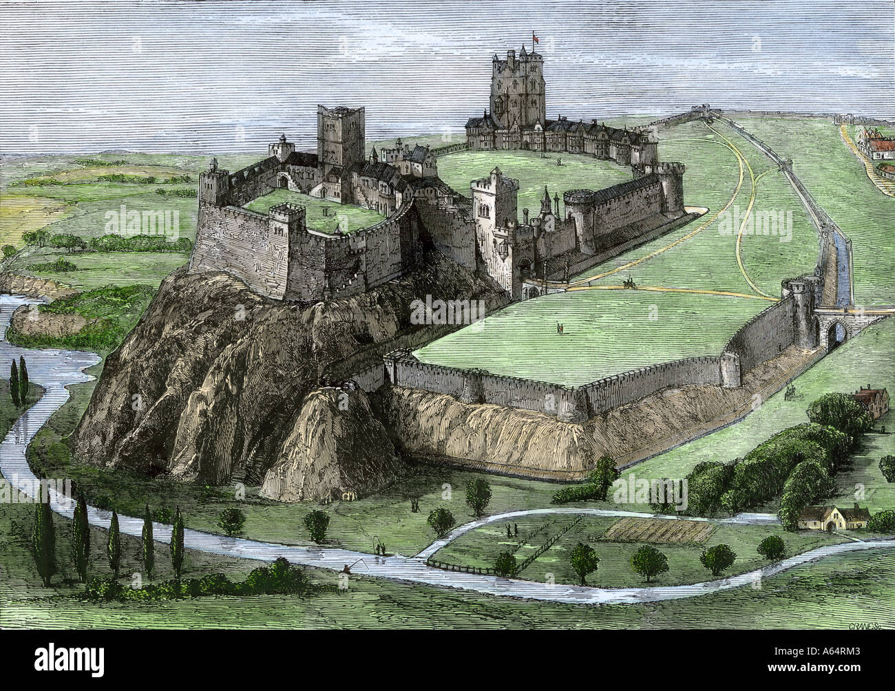 Medieval Nottingham Castle overlooking the Trent River and English countryside about 1500 (demolished in 1649). Hand-colored woodcut - Stock Image