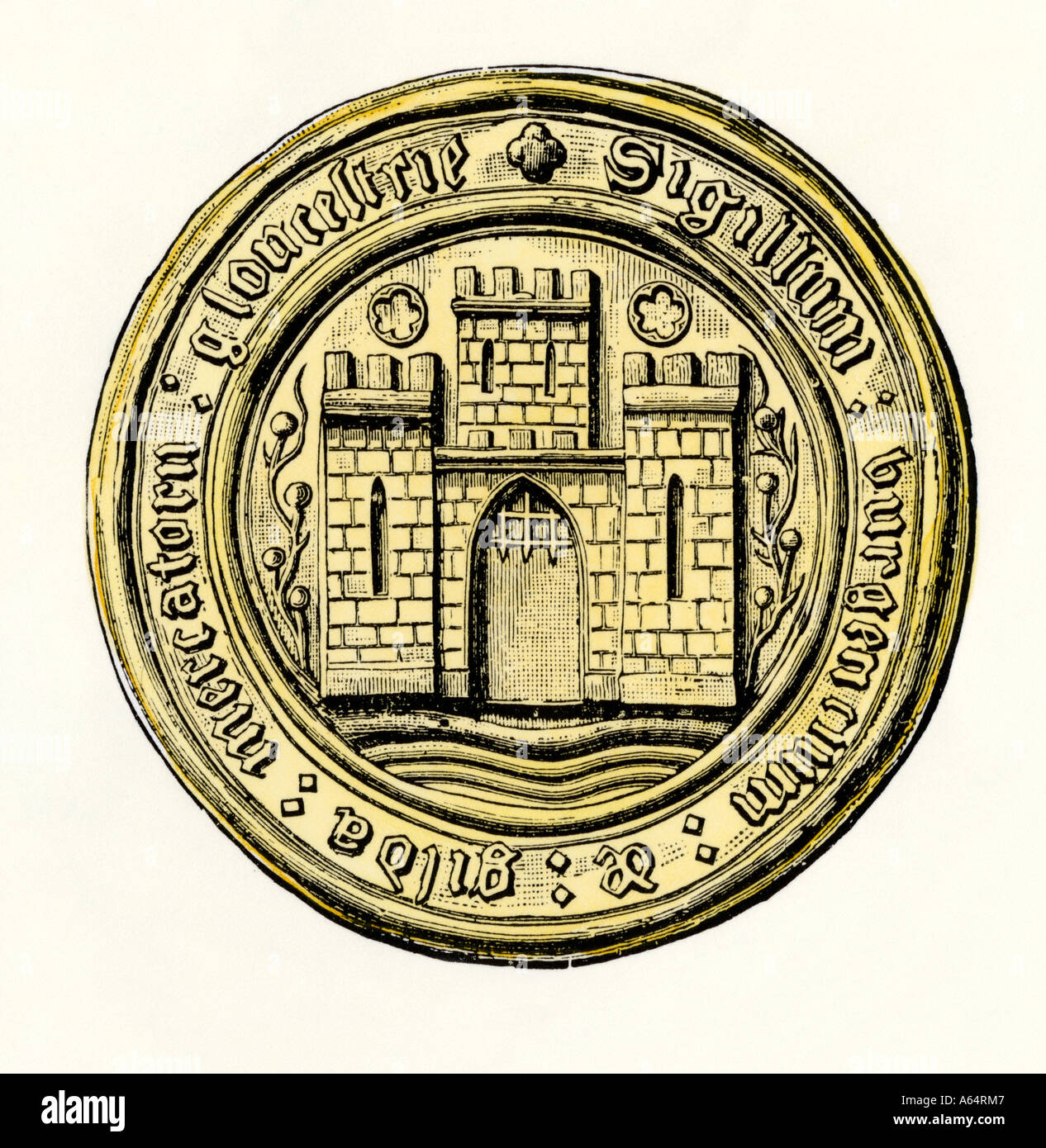Merchants guild seal circa 1200 Gloucester England. Hand-colored woodcut - Stock Image
