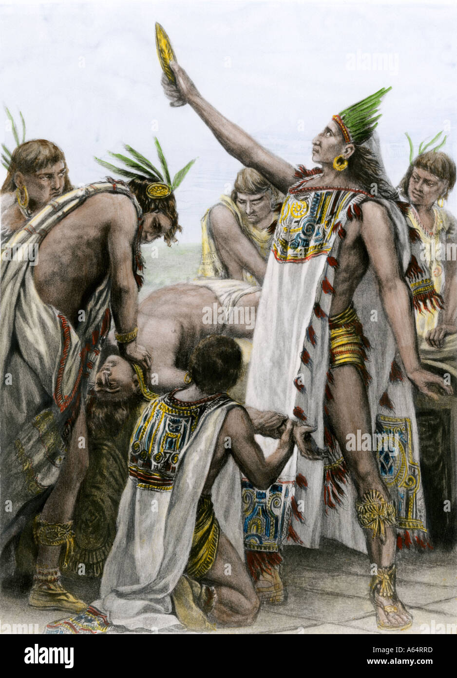 Aztec priest performing human sacrifice in ancient Mexico. Hand-colored photogravure of an illustration - Stock Image