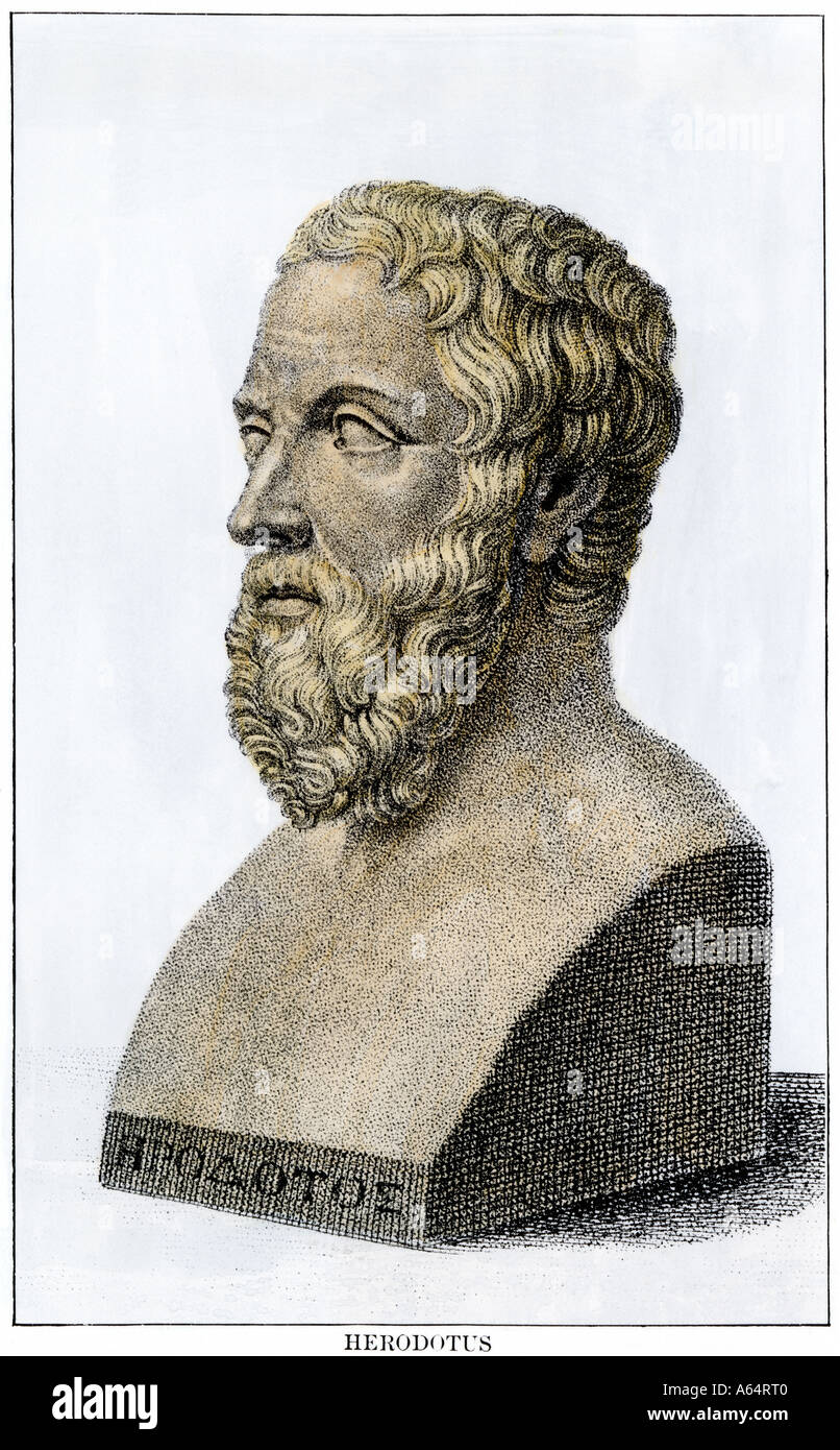 Herodotus the Father of History. Hand-colored woodcut - Stock Image