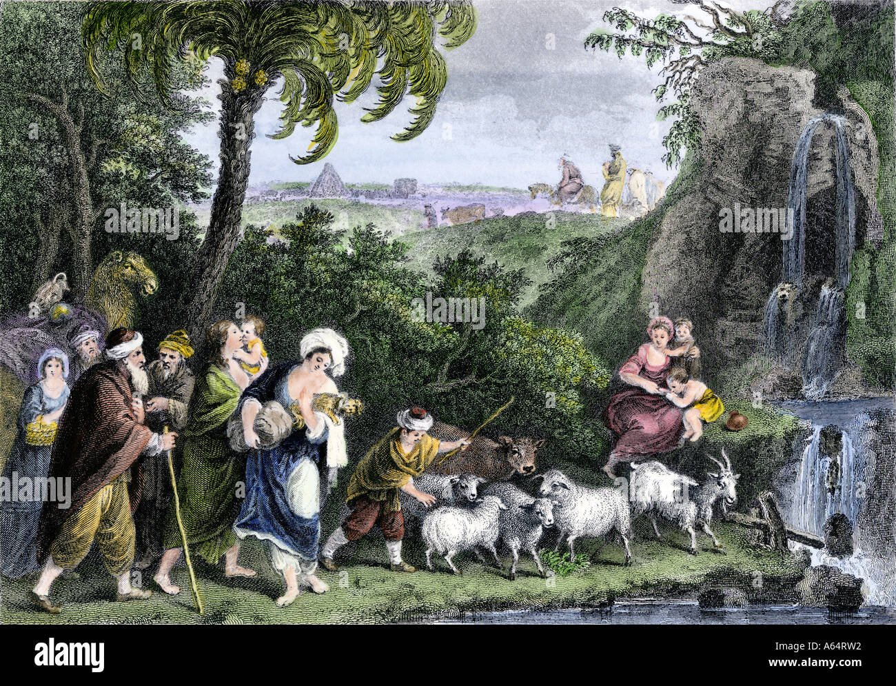 Abraham leaving Ur for Canaan with Lot and the rest of his family. Hand-colored engraving - Stock Image