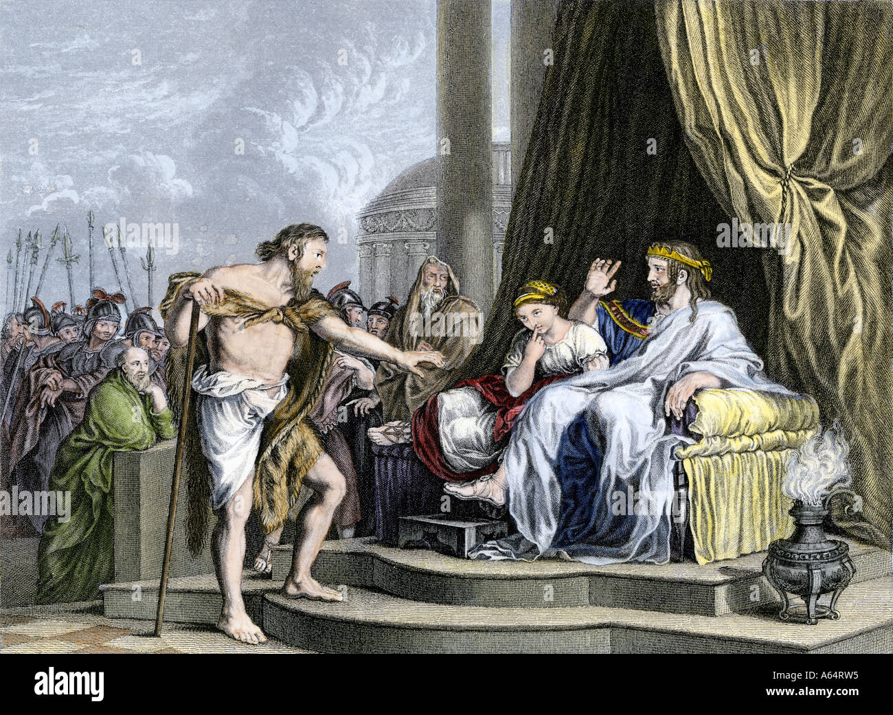 John the Baptist criticizing Herod ruler of Palestine under the Romans. Hand-colored engraving - Stock Image