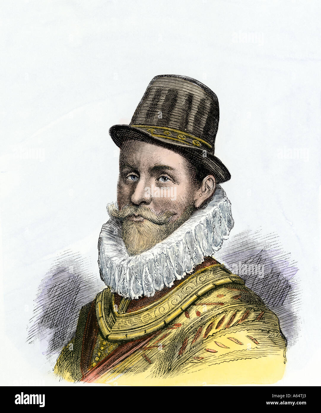 Sir John Hawkins English explorer and naval commander against the Spanish Armada 1588. Hand-colored woodcut - Stock Image
