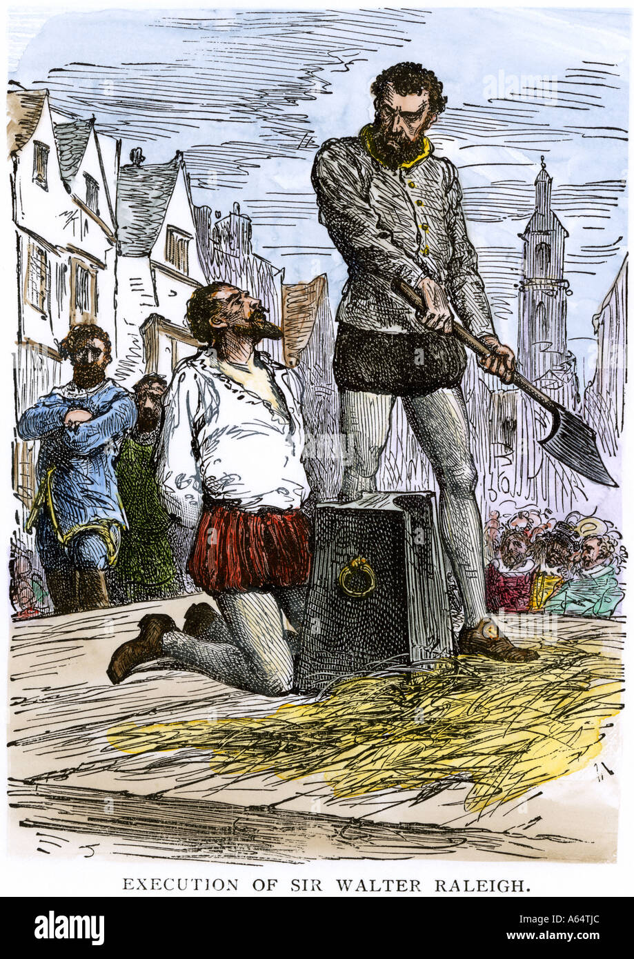 Execution of Sir Walter Raleigh in England 1618. Hand-colored woodcut - Stock Image