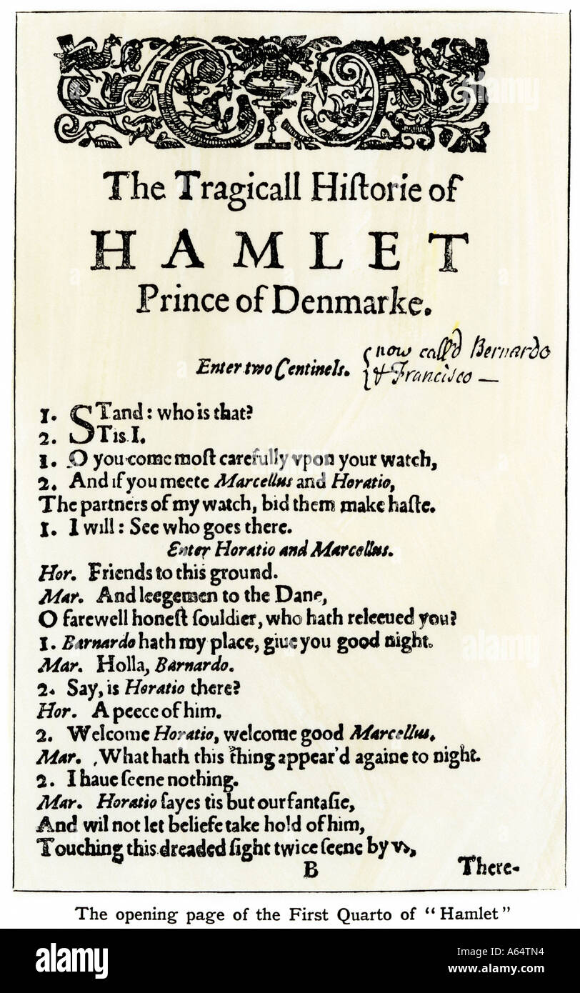 Opening page of Hamlet from Shakespeare First Quarto. Woodcut with a watercolor wash - Stock Image