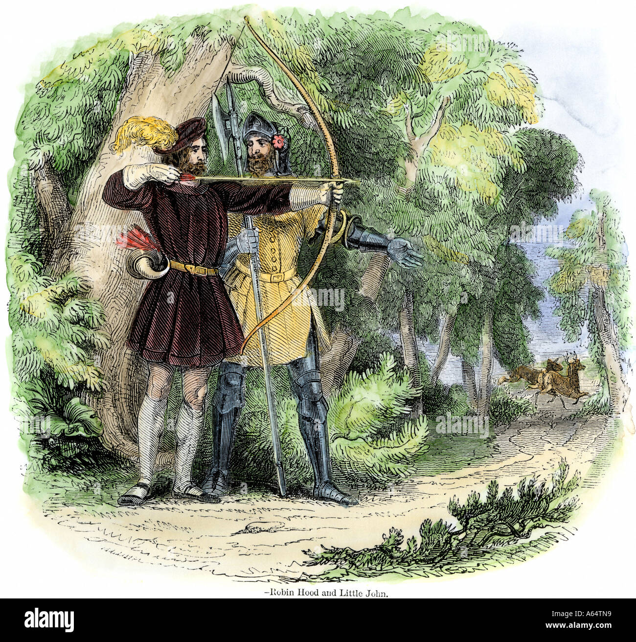 Robin Hood and Little John hunting deer in Sherwood Forest. Hand-colored woodcut - Stock Image