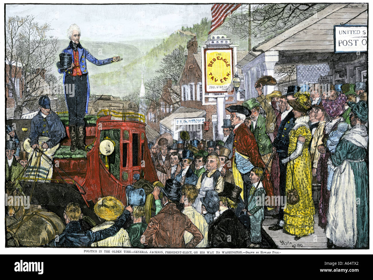 President-Elect Andrew Jackson making a speech on his way to Washington DC. Hand-colored woodcut of a Howard Pyle illustration - Stock Image