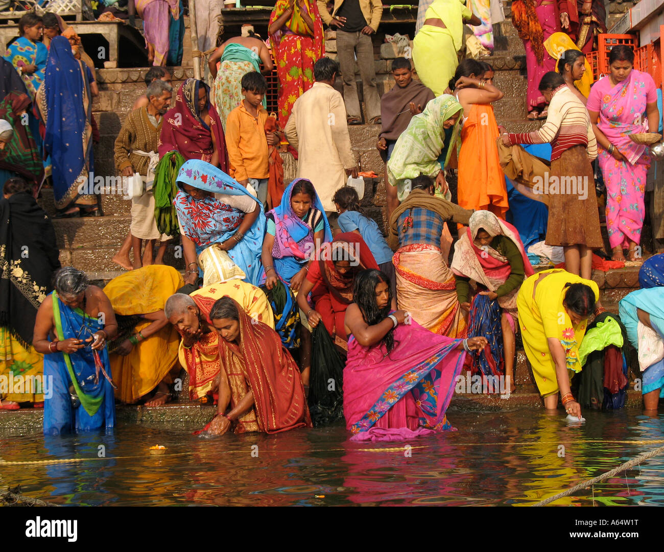 People Bathing And Praying On The Ghats Of The River -2210