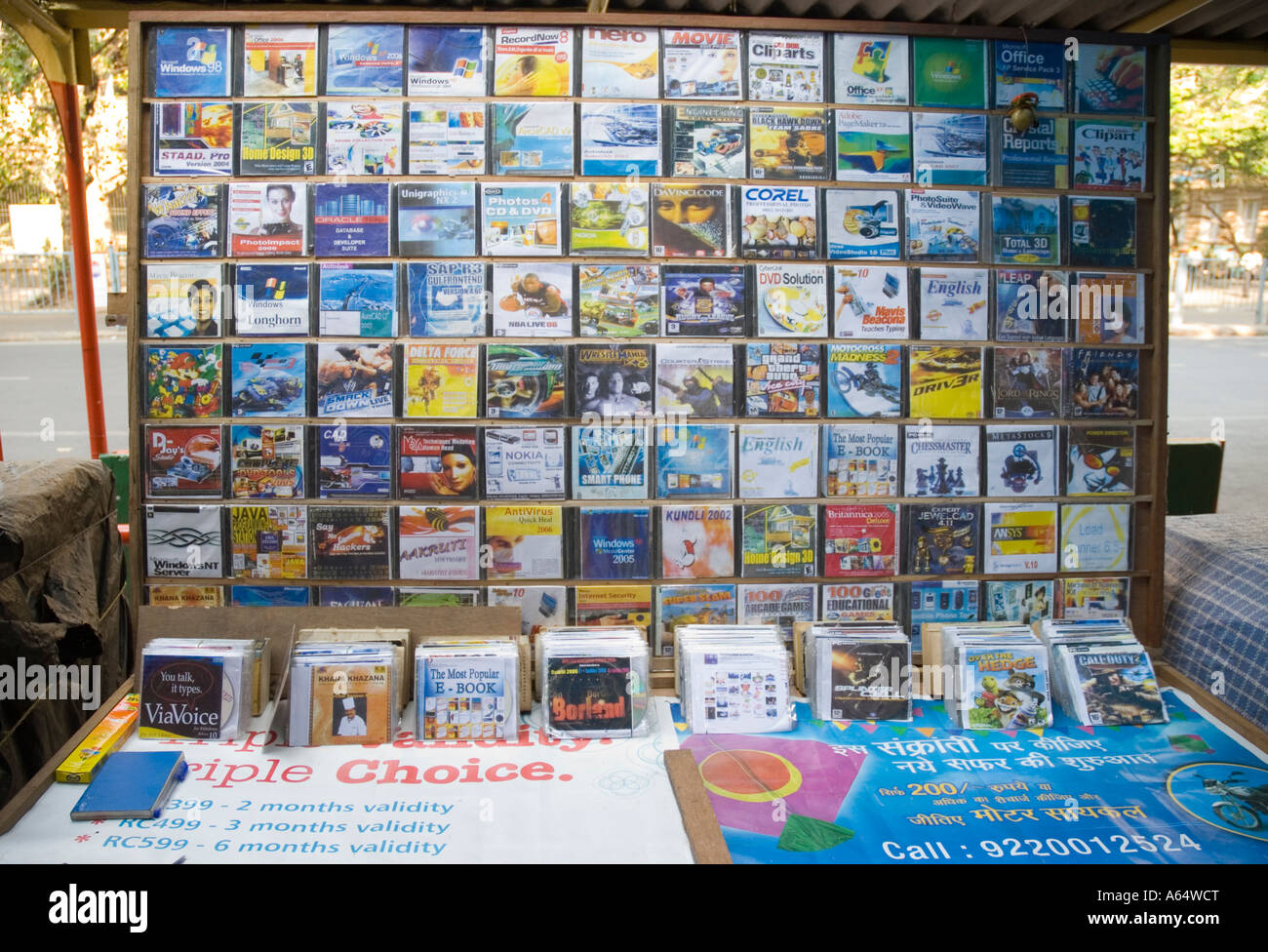 Pirated Illegal CD software and movies for sale on a street