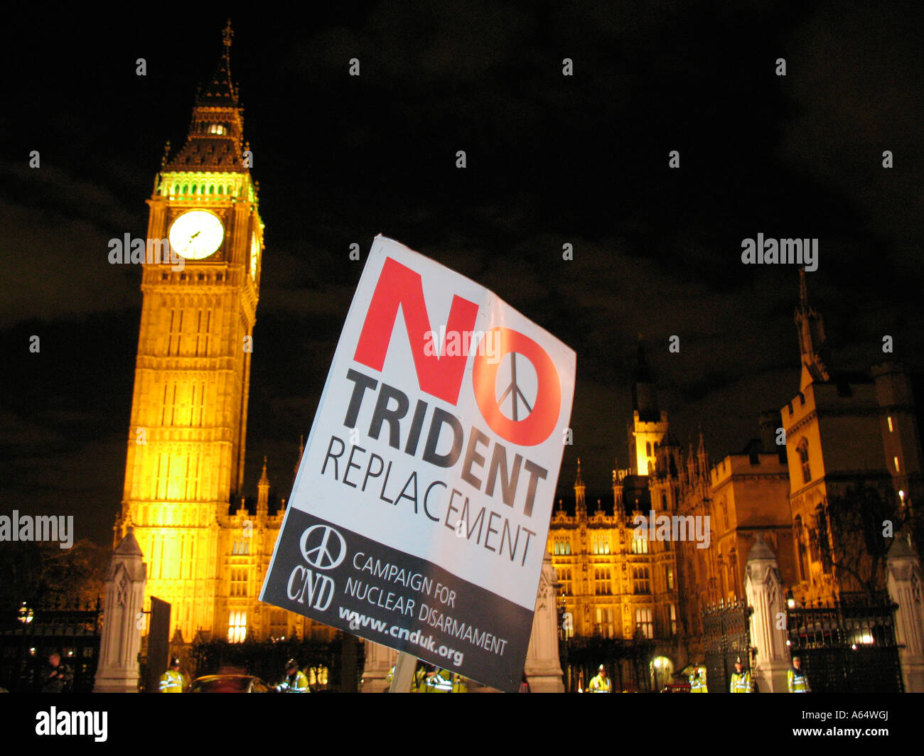 No Trident Replacement Demonstration Parliament Square London England - Stock Image
