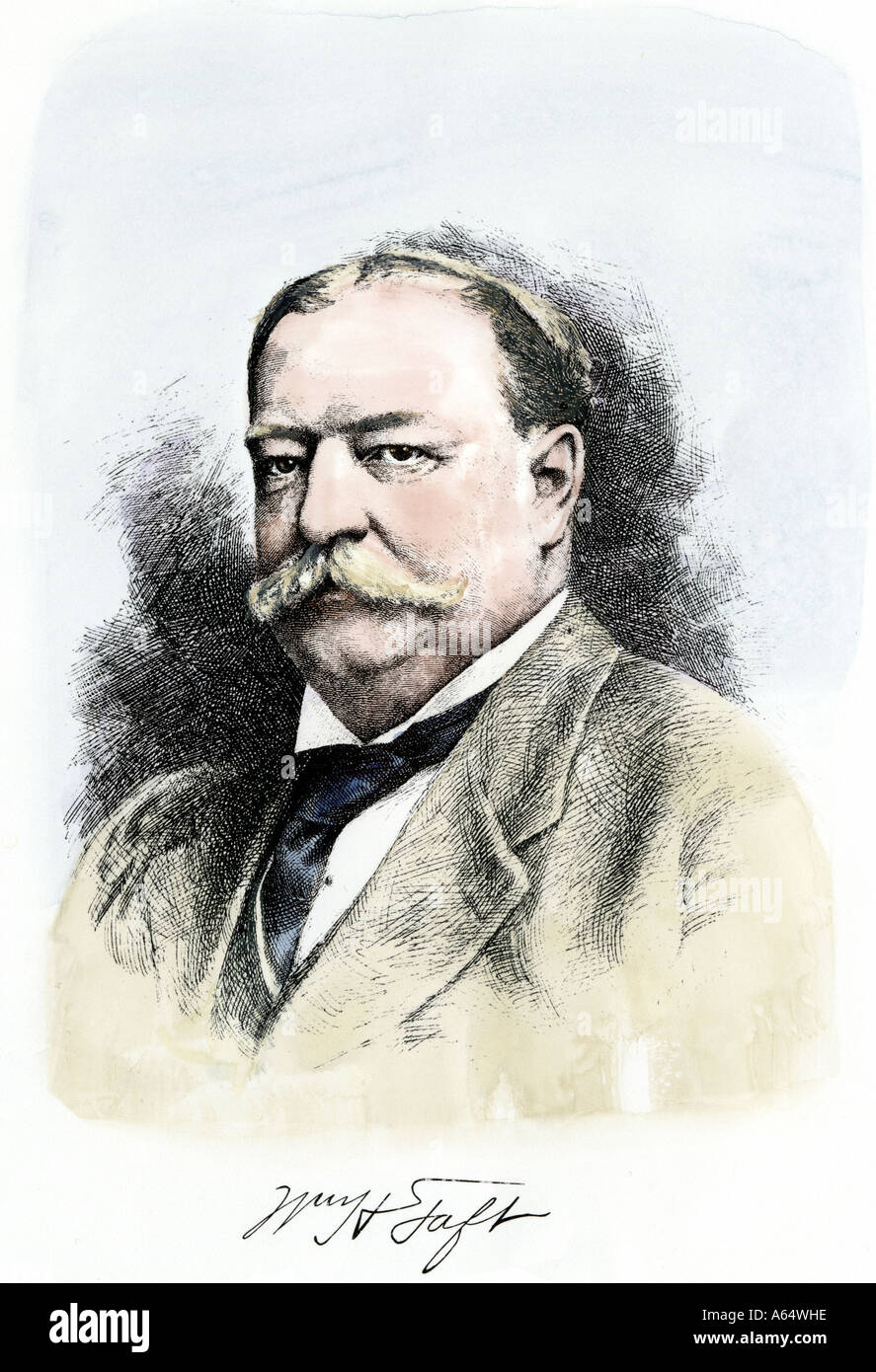 William Howard Taft portrait with autograph. Hand-colored woodcut - Stock Image