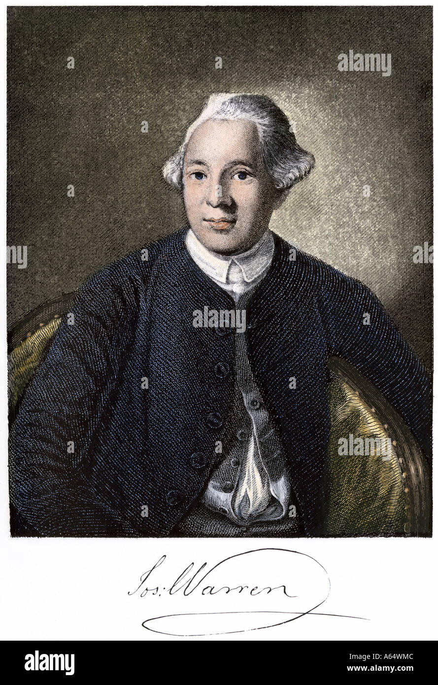 Dr Joseph Warren of Boston and his signature. Hand-colored woodcut - Stock Image