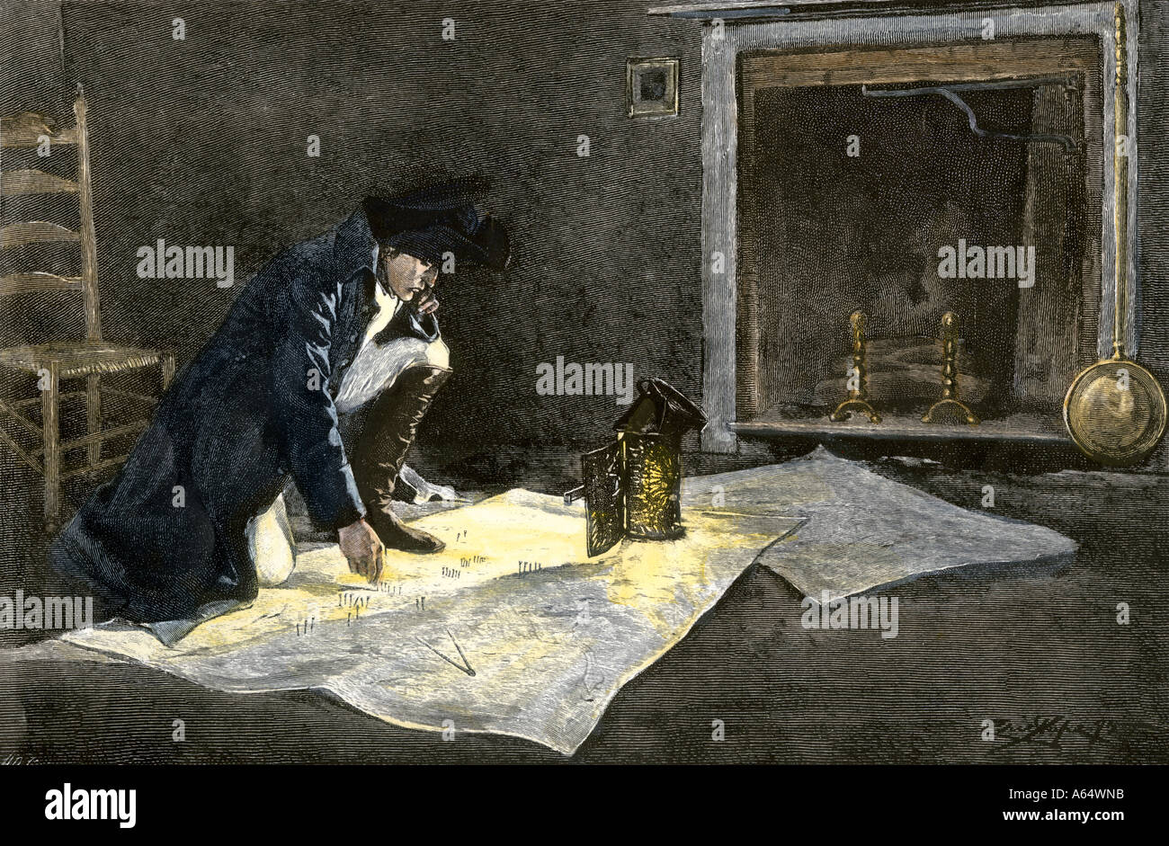 Napoleon Bonaparte studying maps to plan a battle. Hand-colored woodcut - Stock Image