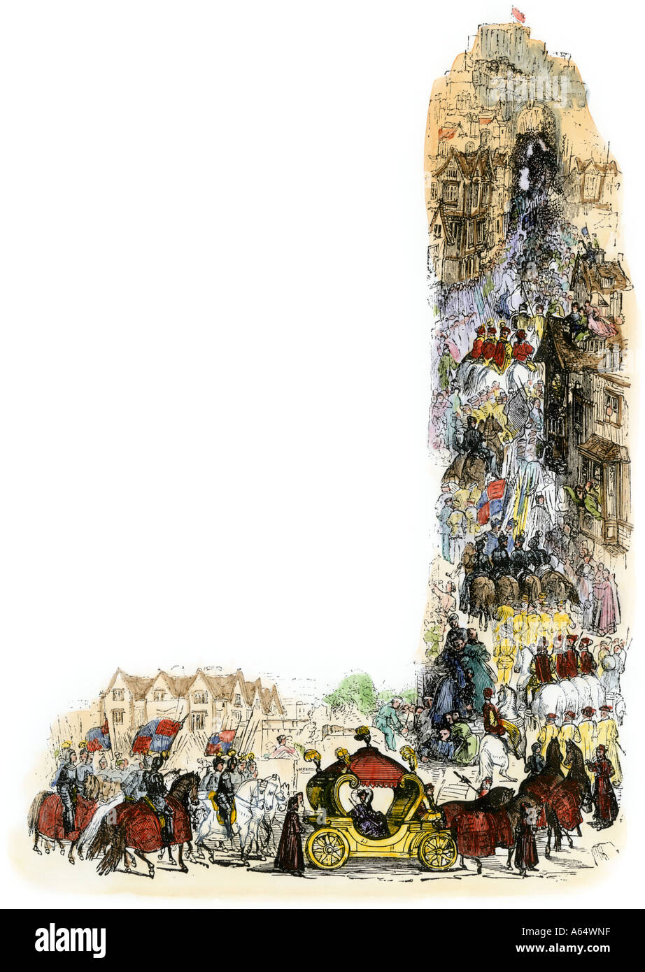 Queen Elizabeth's coronation procession to St Paul's Cathedral in London 1558. Hand-colored woodcut - Stock Image