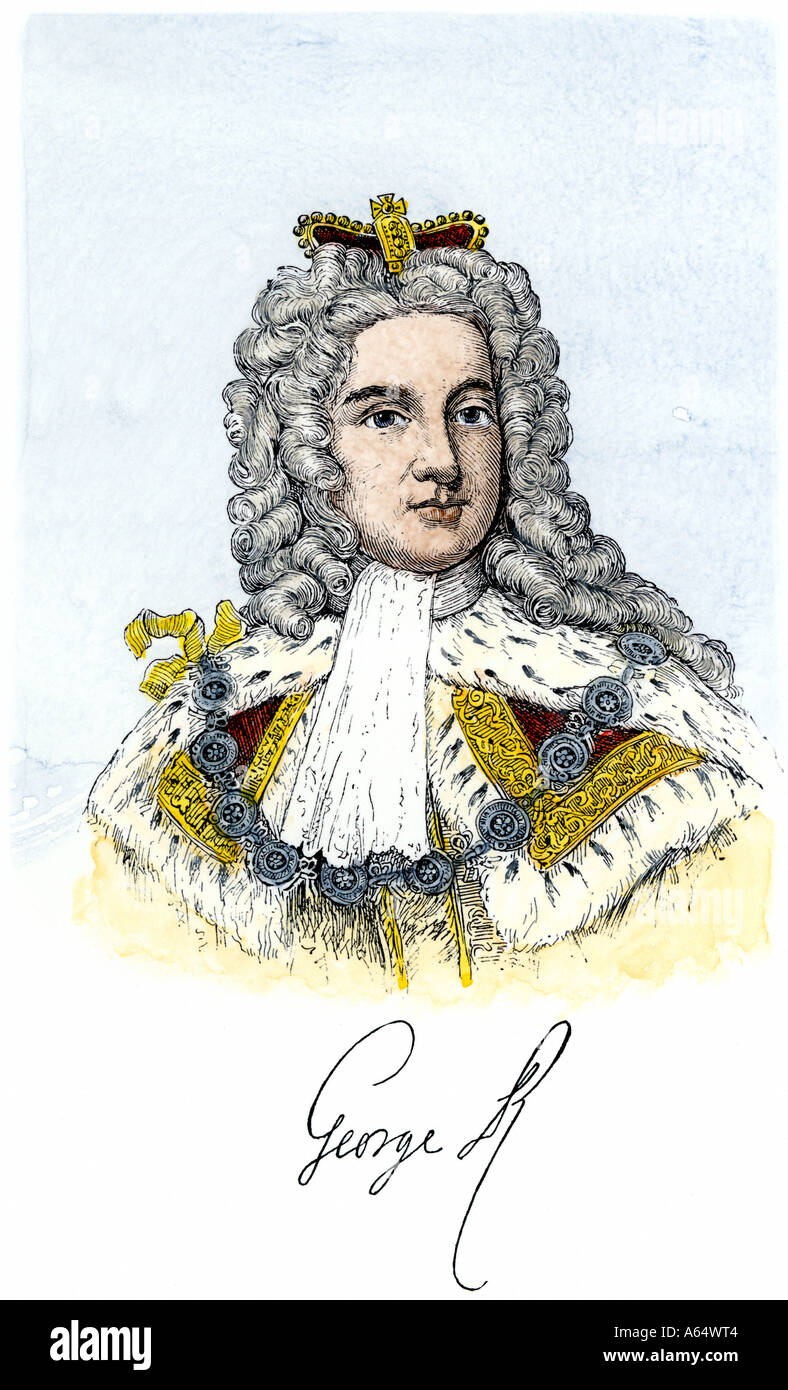 George II King of England with his signature. Hand-colored woodcut - Stock Image