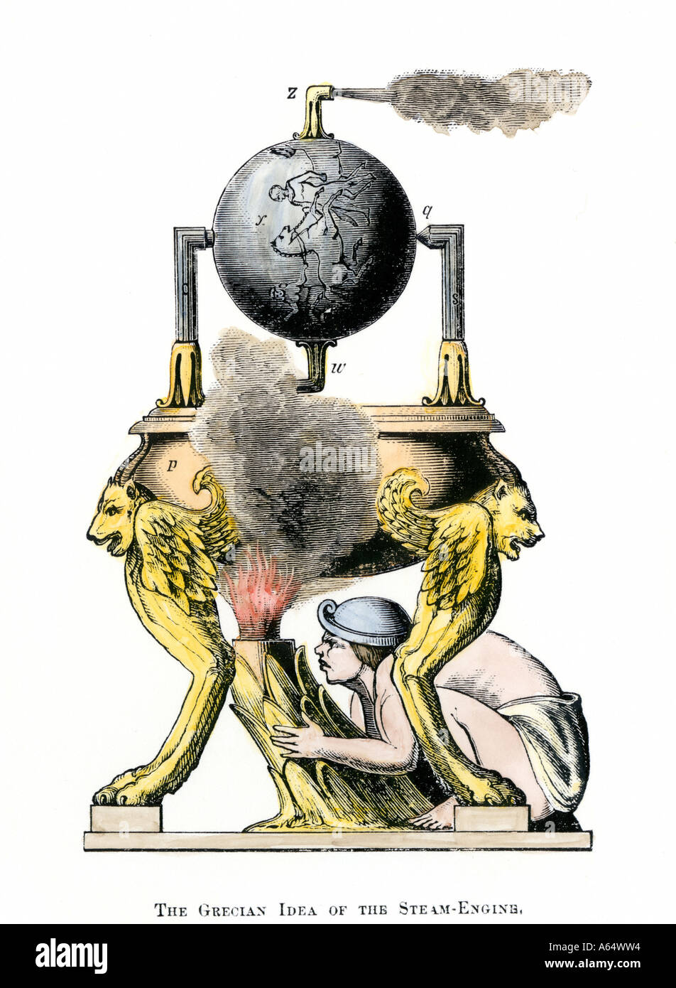 Ancient Greek steam engine as designed by Hero of Alexandria. Hand-colored woodcut - Stock Image