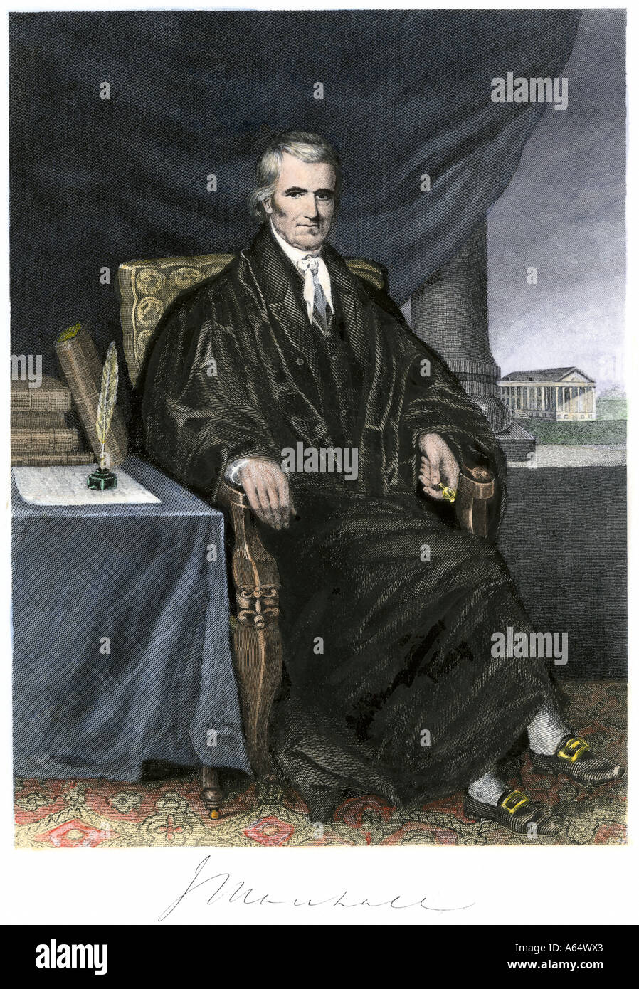 John Marshall Chief Justice of the United States Supreme Court 1800s. Hand-colored steel engraving Stock Photo