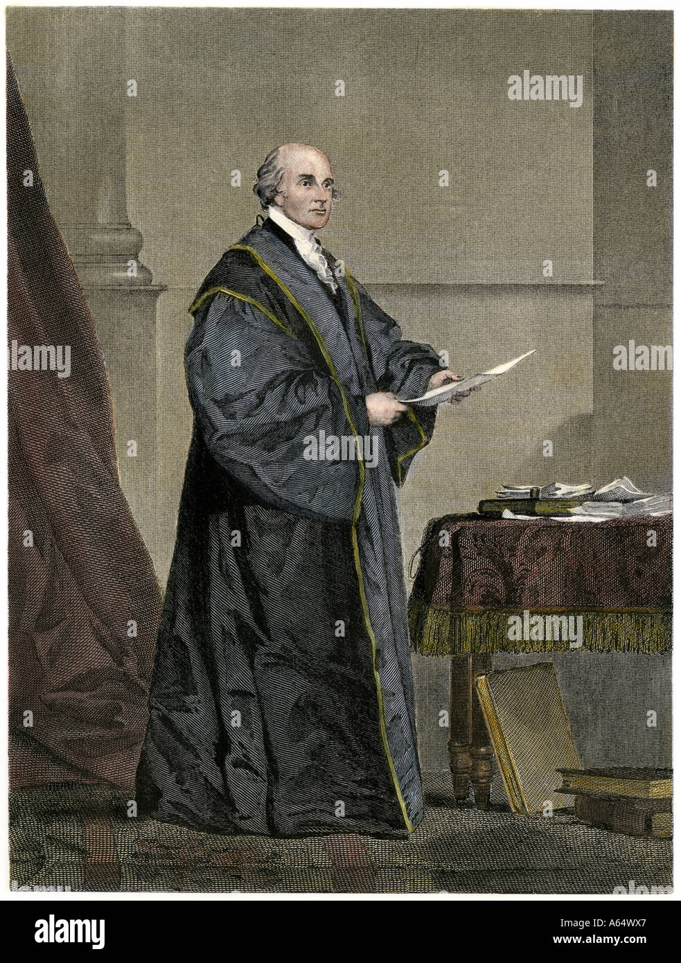 John Jay first Chief Justice of the United States Supreme Court. Hand-colored steel engraving Stock Photo