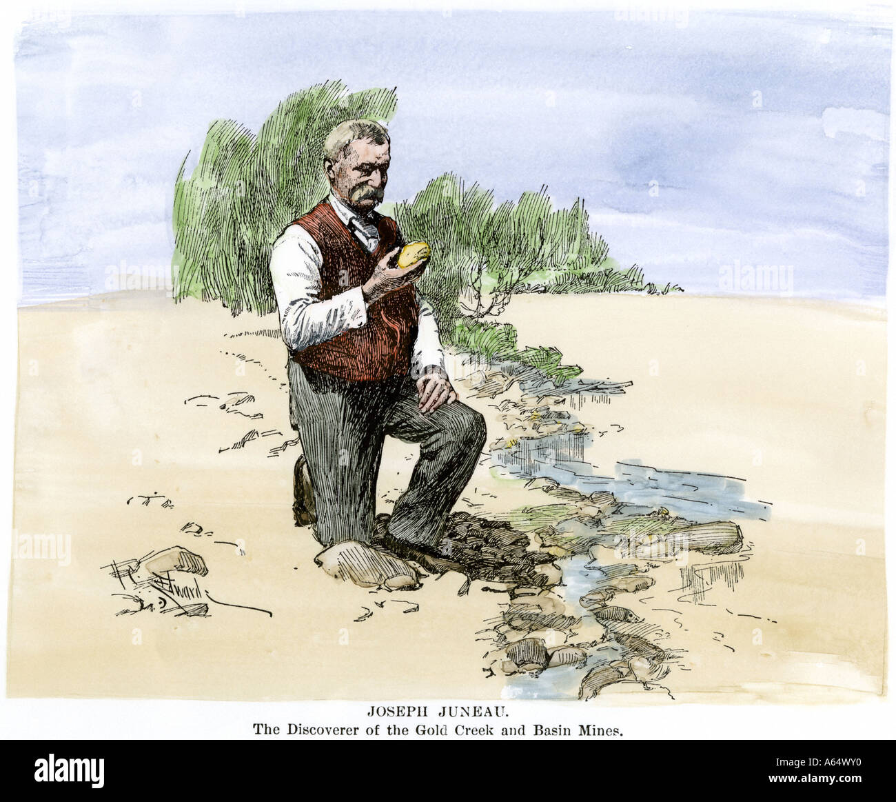 Joseph Juneau discoverer of the Gold Creek and Basin Mines in Alaska holding a gold nugget. Hand-colored woodcut - Stock Image