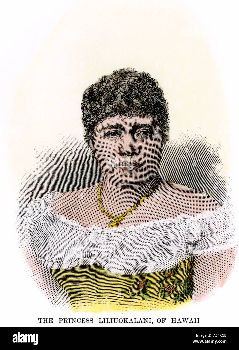 Queen Lilioukalani of Hawaii 1880s. Hand-colored woodcut - Stock Image